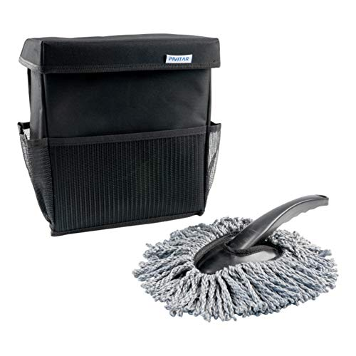 Pivitar Trash Can Car Lid Free Duster Brush, Waterproof Car Organizer, Trash Can Floor Hanging on Headrest, Collapsible Container Garbage, Water Cooler
