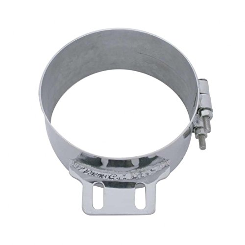 United Pacific 10322 8 inch Stainless Steel Butt Joint Exhaust Clamp with Straight Bracket