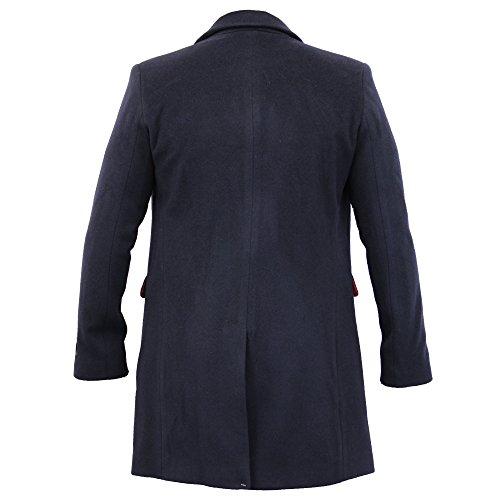 Invernale Lana Cappotto Cashmere Uomo Trench Nuovo Fit Caldo Woolg11 Navy Slim Foderato Giacca Blu waF8S8dBq