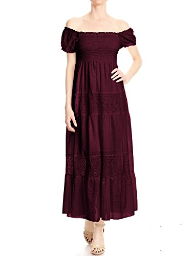 Cotton Empire Waist Chemise - Anna-Kaci Womens Off Shoulder Boho Lace Semi Sheer Smocked Maxi Long Dress, Burgundy, X-Large