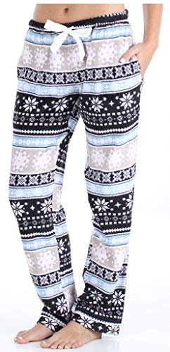 PajamaMania Women's Fleece Pajama PJ Pants with Pockets, Fairisle (PMPFR1003-2016-LRG)