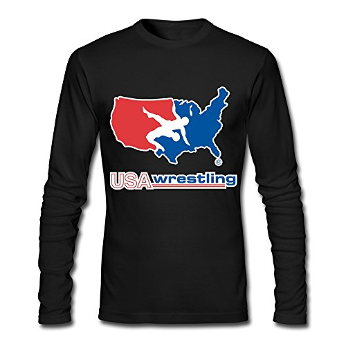 QMY Men's Usa Wrestling Logo Stacked Long Sleeve T-shirts Size L