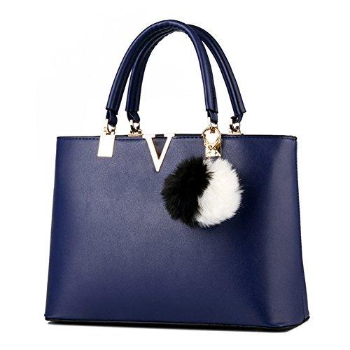Wholesale Designer Purses (SILI Women Faux Leather Handbag Zipper Shoulder Bag Top Handle Handbag Fashion Designer Lady Purse Royal Blue)