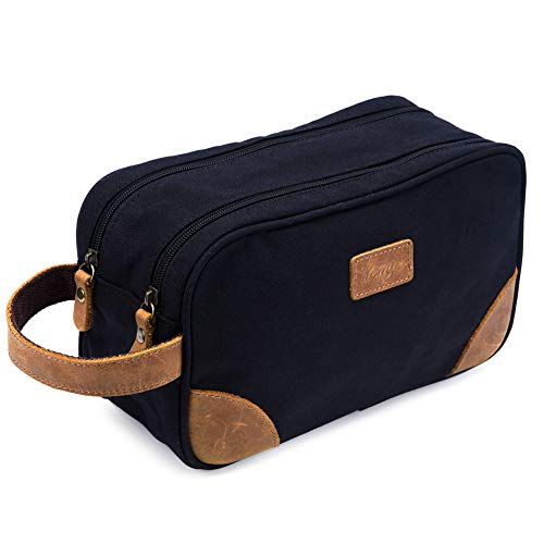Kemy's Mens Toiletry Bag Leather Canvas Toiletries Travel Bag Grooming Shaving Bags for Men Dopp Dob Dobb Kits Toilet Hygiene Bathroom Bag Double Compartment for Traveling Waterproof Easter Gift Black