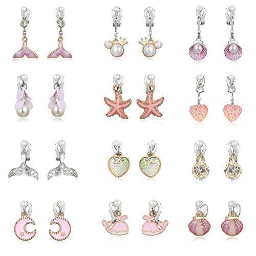 (PinkSheep Clip On Earrings for Little Girls, Mermaid Earrings for Kids, 12 Pairs, Best Gift)