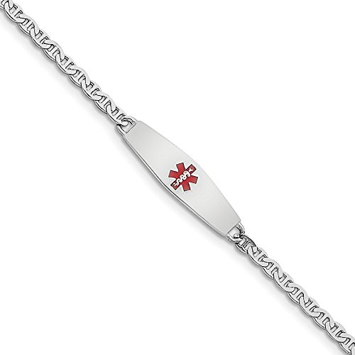 Sterling Silver Rhodium-plated Medical ID Anchor Link Bracelet ()