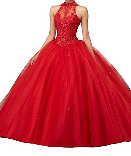 CharmingBridal High Neck Lace Prom Pageant Ball Gown Quinceanera Dresses Red