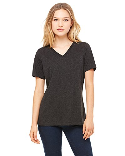 Price comparison product image Bella + Canvas Ladies' Relaxed Jersey V-Neck T-Shirt,  Chrcl / Blk Triblend,  Medium