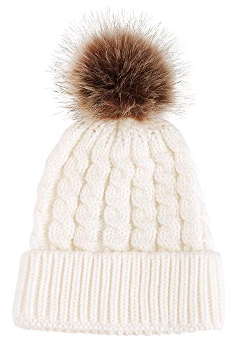Simplicity Men/Women's Winter Hand Knit Faux Fur Pompoms Beanie Hat White ()