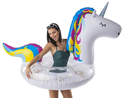 BigMouth Inc Giant Inflatable Magical Pool Float with Glitter Inside, Patch Kit Included, Swim Innertube (Giant Unicorn)