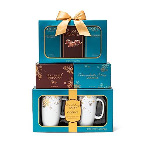 Chocolates Celebration (The Godiva Celebration Tower Gift Set | Contains 2 Ceramic Mugs (9 oz.), Godiva Milk & Dark Chocolate Cocoa, Salted Caramels, Caramel Popcorn, and Chocolate Chip Cookies)