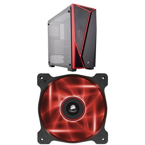 Corsair Carbide Series SPEC-04 Mid-Tower Tempered Glass Gaming Case, Black and Red and Corsair Air Series AF120 LED Quiet Edition High Airflow Fan Single Pack - Red