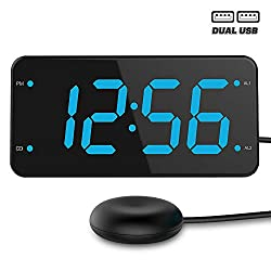Bed Shaker Loud Alarm Clock for Heavy Sleepers, Deaf & Hearing Impaired, Dual Alarm Digital Clock with 2 USB Charger, 7-Inch Display, Full Range Dimmer - Ocean Blue