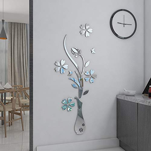 (YongPan DIY Mirror Flower Vase 3D Crystal Acrylic Butterfly Stickers,Floral Vase Mirror Wall Decal for Entranceway Living Room Furniture Wall Deco (Silver, 15.75
