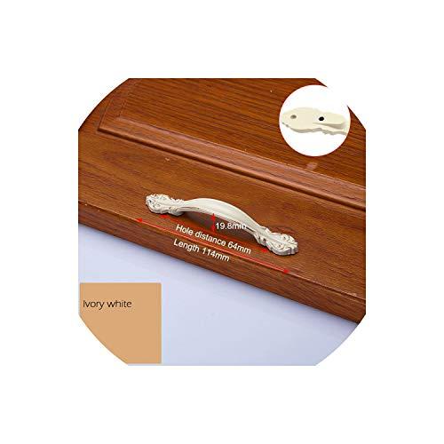 European Zinc Alloy Cabinet Handles Wardrobe Door Pulls Drawer Knobs Kitchen Cupboard Handles Furniture Handle Hardware,Ivory White 64mm