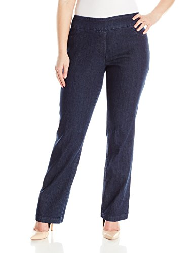 SLIM-SATION Women's Plus-Size Wide Band Tall Pull-On Straight Leg Pant, Denim, 22W