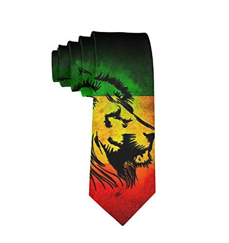 Reggae Rasta Flag Lion Classic Men Silk Tie Woven Jacquard Neck Ties ()