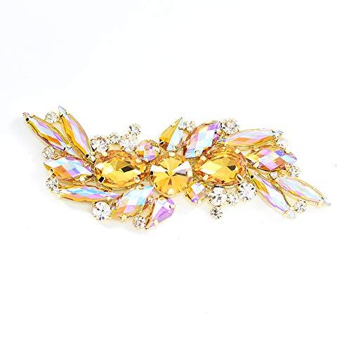 BLINGINBOX 1 Piece 11x4.5cm Sewing On Rhinestone Applique Gold Base Crystal Rhinestone Brooch DIY Wedding Evening Dress(Topaz AB)