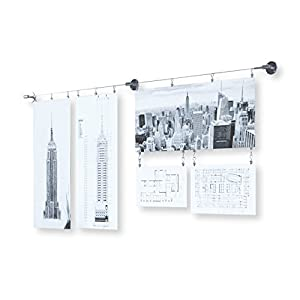 Soho Wall Mount Hanging File Folder Organizer Display Stainless Steel Wire Rod with 48 Clips