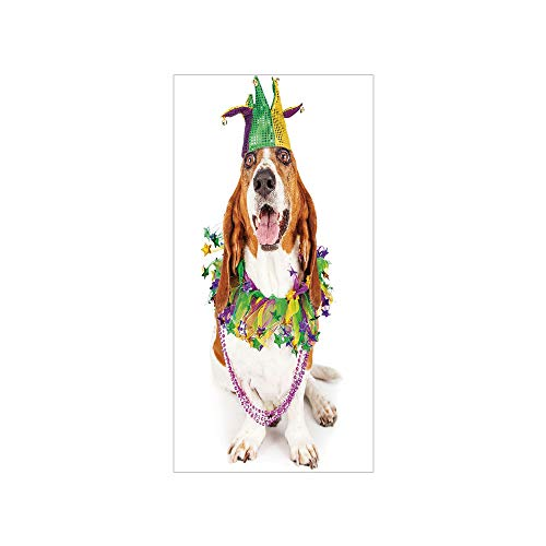 3D Decorative Film Privacy Window Film No Glue,Mardi Gras,Happy Smiling Basset Hound Dog Wearing a Jester Hat Neck Garland Bead Necklace Decorative,Multicolor,for Home&Office
