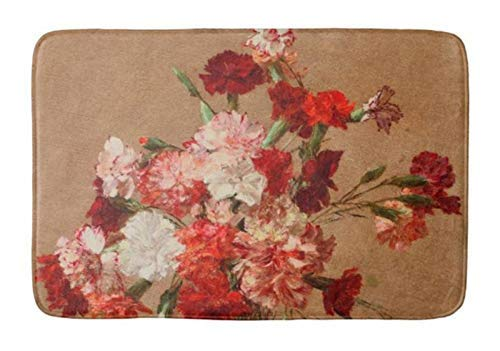 compass her Bathroom Rug Mat (24X16 Inch),Extra Soft and Absorbent Rugs, Machine Wash/Dry,Floor Mats for Tub, Shower and Bath Room Henri fantin Latour Carnations Without vase Bath mat ()