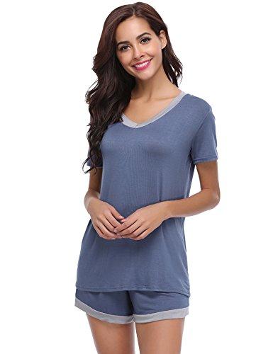 Aiboria Womens Pajama Short Sets Cotton Short Sleeve Sleepwear Nightwear Summer Lounge Pj Set Navy