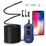 WiFi Endoscope, NIDAGE 2.0 Megapixels HD Digital Inspection Camera with 6 LEDs Borescope Compatible iOS and Android Smartphone, iPhone, Samsung, iPad, Tablet (5M / 16.4ft)