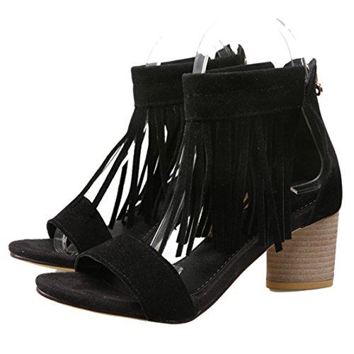 57a3da092f ... AIYOUMEI Damen Wildleder Blockabsatz Sandalen mit 6cm Absatz und  Fransen Chunky Heel Pumps Schuhe Schwarz ...