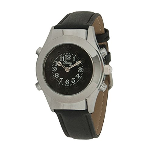 Womens Chrome Braille Talking Watch-Spanish-Black Dial + Leather - Watch Dial Braille Black