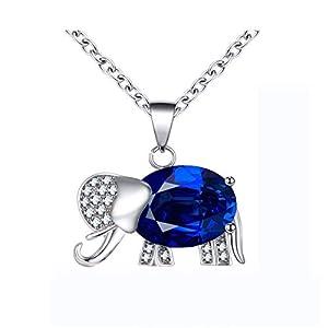 544ed374efd0 Epinki Collar Chapado en Oro Blanco Azul Zafiro Elefante Colgante Collar  para Mujer Chicas Cadena Longitud 45CM