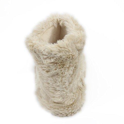 Gohom Dames Warme Winter Indoor Slipper Boots Huis Beige