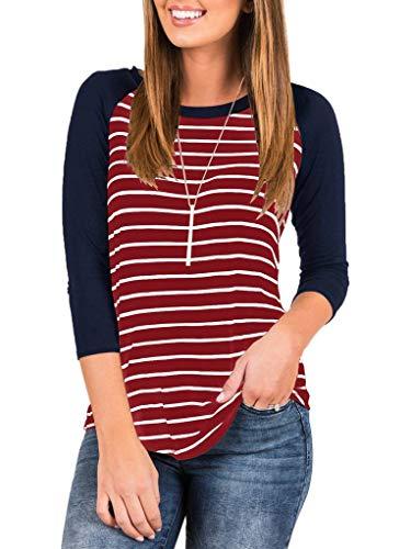 (EZBELLE Women's 3/4 Sleeve Loose Striped Raglan Baseball T Shirt Round Neck Tunic Tops Blouse Burgundy Small)
