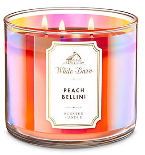 Bath and Body Works White Barn 3 Wick Scented Candle Peach Bellini with Essential Oils 14.5 - Peach Bath