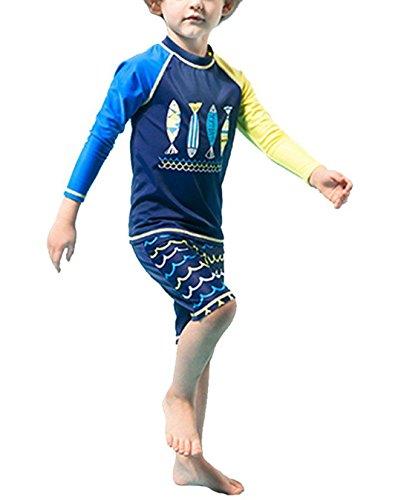 Little Boy Fish Pattern Long Sleeve Rash Guard