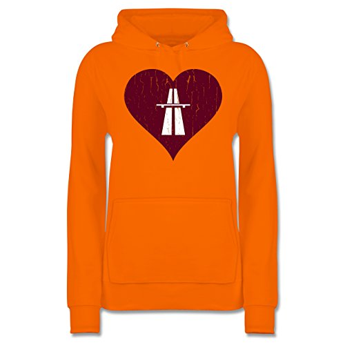 Orange Automotive Sweat Premium Hoodie Kapuzenpulli Jh001f Vintage Hooded Autobahn Kapuzenpullover Damen - Herz Frauen Rennsport Love
