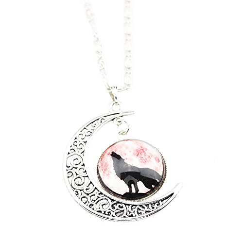 [FOY-MALL Fashion Wolf Pattern Moon and Time Gem Pendant Necklace XL1235] (Lobster Claw Costume Pattern)
