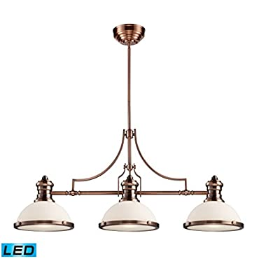 ELK 66245-3-LED, Chadwick Large Glass 1 Tier Chandelier Lighting, 3 Light LED, Antique Copper