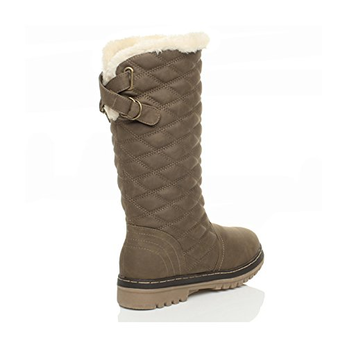 quilted knee winter Ajvani high girls Womens lined snow flat fur size boots Khaki ladies calf x0wxq4Taf