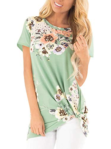 Womens Summer Loose Tunic Tops Floral Plus Size Shirts Blouses Green XXL