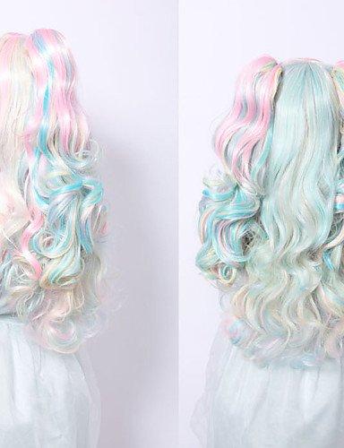 WIGSTYLE Pelucas de la manera de anime cosplay peluca multicolor sintética