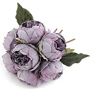Artificial Flower Peony Silk 1 Bouquet 7 Heads 3 Leaves Vintage Home Decoration Party Wedding Light Purple 11