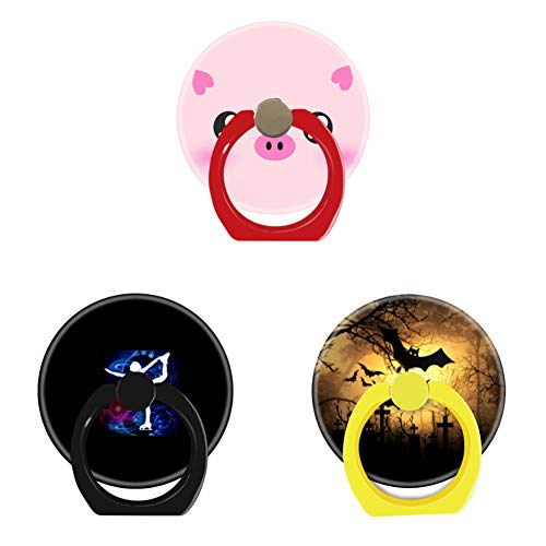 Bsxeos 360°Rotation Cell Phone Ring Holder with Car Mount Work for All Smartphones and Tablets-Figure Skater on Technicolor ice-Halloween Grave bat-Pig Face Kawaii(3 -