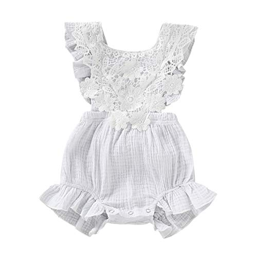 - Baby Romper Girl Infant Newborn Romper for Girls Ruffles Lace Floral Collar Rompers Bodysuits Princess Clothes Cute Girl Outfits Summer 3-6 Months White