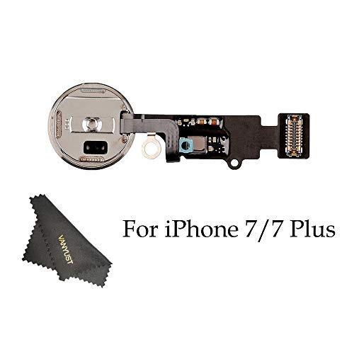 VANYUST Replacement Home Button Key Flex Cable Assembly with Rubber Ring Compatible for iPhone 7 and 7 Plus (Gold) + VANYUST Cloth