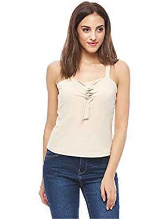 Valeria Sanoufi Cream Square Neck Blouse For Women