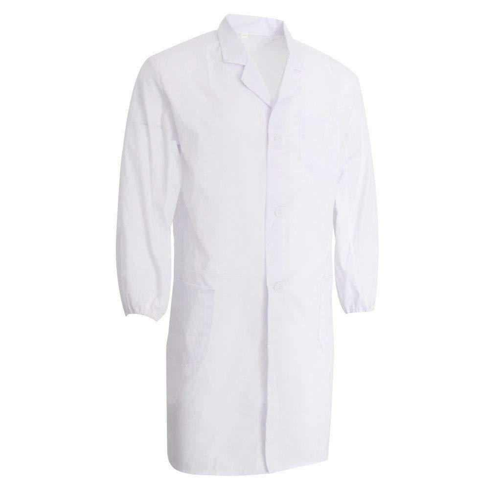 XL Blanc Homyl Manteau de Laboratoire Infirmi/ère M/édecin Avec Manche Longue Trois Poches /à Avant