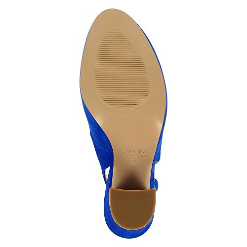 Evita Shoes ILENEA Damen Sling Pumps Rauleder Royalblau