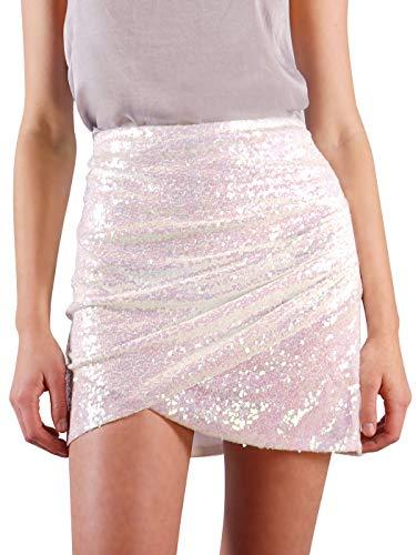 Anna-Kaci Womens Short Ruched Tulip Hem Body Con Sequin Club Pencil Mini Skirt, White, Small