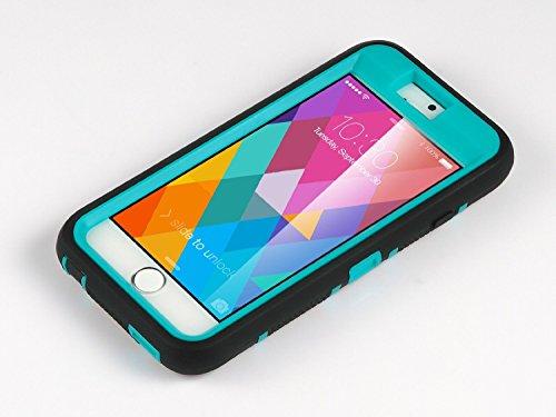 Caso del iPhone 6s, Ulak iPhone 6 Caso Funda Carcasa 3en1 prueba de golpes duro híbrido combinado rígido de la PC + cubierta suave de silicona protectora para el iPhone 6 / 6s (4,7 pulgadas) (Azul + N