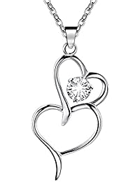 Genuine .925 Sterling Silver Plated Austrian Crystal Infinity Heart Pendant Necklace